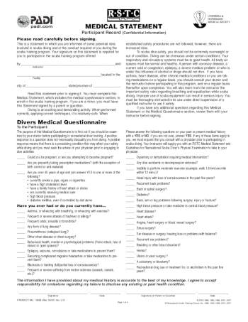 Open Water Dive Medical Questionnaire